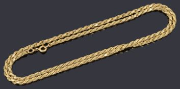 A 9ct gold twisted rope chain necklace