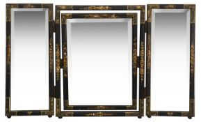 An Edwardian black japanned and gilt decorated chinoiserie triple dressing table mirror