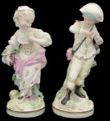 Two large 18th c Derby porcelain figures, 'Spring' and 'Autumn' from the French Seasons c.1780