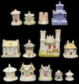 Early to mid 19th c English porcelain and Staffordshire pottery pastille burners