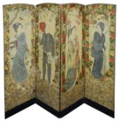 A Victorian four fold draught screen decorated with Japanese figures painted on linen and decoupage