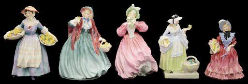 Six Royal Doulton porcelain figures