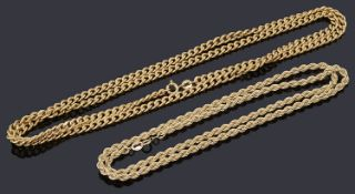 Two 9ct gold necklace chains