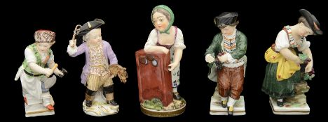 Meissen porcelain figure of a cherub playing with a toy horse and four other Meissen style figures