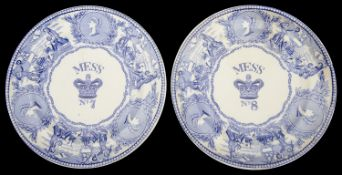 Two mid 19th c Bovey Tracey pottery Royal Navy blue and white transfer decorated mess plates c.1850