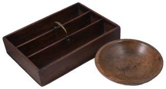 An early 19th century mahogany cutlery tray and a 19th century turned beechwood bowl