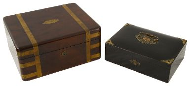 An early 19th c brass bound mahogany gentleman's campaign dressing box; other