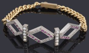 An unusual ruby, diamond and split pearl centrepiece bracelet possibly American