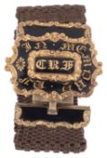 A Victorian gold enamel and woven hair-work bracelet