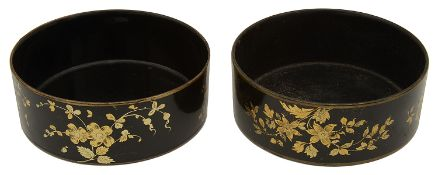 Pair of Regency black japanned and gilt chinoiserie decorated papier mache bottle coasters c.1820