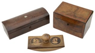 An early 19th c burr walnut tea caddy, a rosewood domed glove box and a Sorrento ware ink blotter