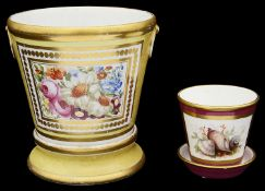 Two early 19th century English porcelain cache pots and stands