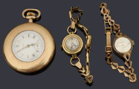 Two ladies 9ct gold bracelet watches and a gold plated Elgin fob watch