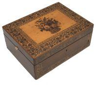 A Victorian Tunbridgeware rosewood work box