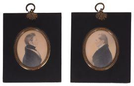 A pair of early 19th century British School portrait miniatures of gentleman