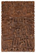 A late 19th century Chinese Canton carved boxwood card case