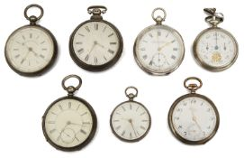 A collection of silver pocket watches