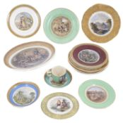 A good collection of Prattware plates, cups, saucers and serving dish,