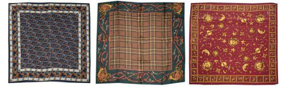 Three designer silk scarves