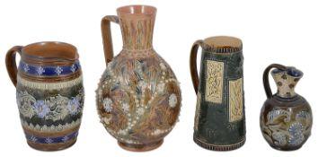 Four Doulton stoneware ceramic jugs