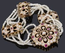 An Indian gold synthetic ruby and split pearl bracelet