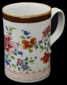 An 18th century Chinese export famille rose porcelain mug
