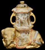A Japanese Meiji period Satsuma elephant Koro and and cover