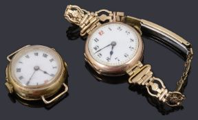 Two 9ct gold watch cases