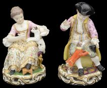 A pair of early 19th century Bloor Derby porcelain figures c.1820