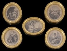 Five late 18th century stipple oval engravings published by C Taylor Holborn c.1790