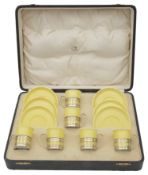 An early 20th century cased Shelley bone china demi-tasse coffee service for six