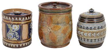 Three Doulton stoneware tobacco jars