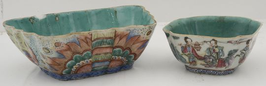 Two late 19th century famille rose bowls