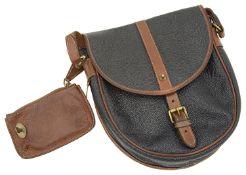 A vintage Mulberry navy scotchgrain and leather crossbody handbag,