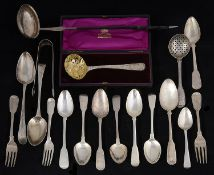 A collection of mostly George III silver flatware