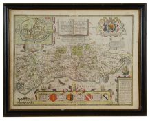 John Speede & John Norden, A 17th century double sided Map of Sussex