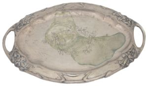An Austrian late 19th c twin handled tray with repousse floral design
