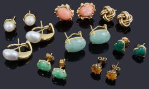 Eight assorted gem set earrings