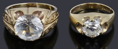 Two gentleman's 9ct gold single stone cubic zirconia signet rings