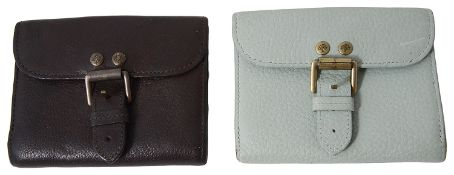 A vintage Mulberry pale green oak leather wallet; another vintage Mulberry brown oak leather wallet