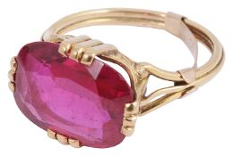 A French gold single stone synthetic ruby ring