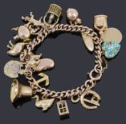 A 9ct gold charm bracelet with nineteen assorted charms