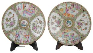 Two Chinese Canton porcelain famille rose chargers