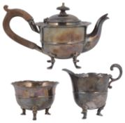 A late 19th century Indian colonial silver three piece bachelors tea service