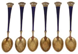 A set of six Danish silver gilt and blue enamel coffee spoons
