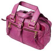 A vintage Mulberry hot pink leather handbag