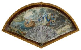 An early to mid 18th c mother of pearl double sided vellum leafed fan