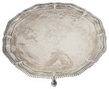 A large late Victorian silver salver