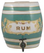 A late 19th century pottery rum barrel