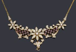 A Victorian rose gold split pearl and ruby floral centrepiece necklace